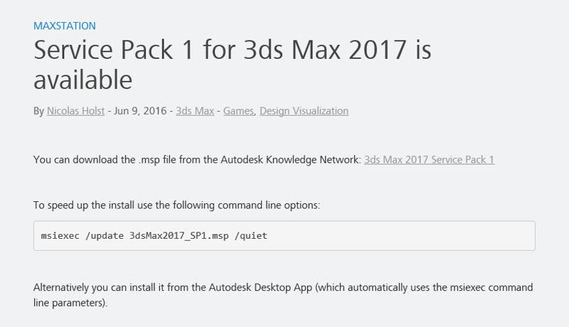 3DS Max 2017 Service Pack 1 - CGPress
