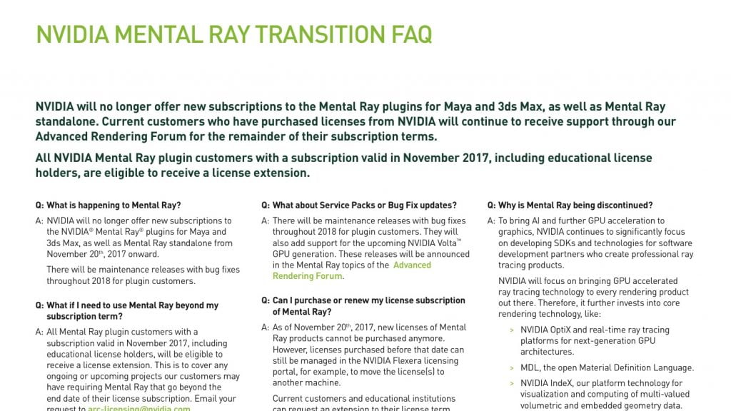 Mental Ray EOL announced - CGPress