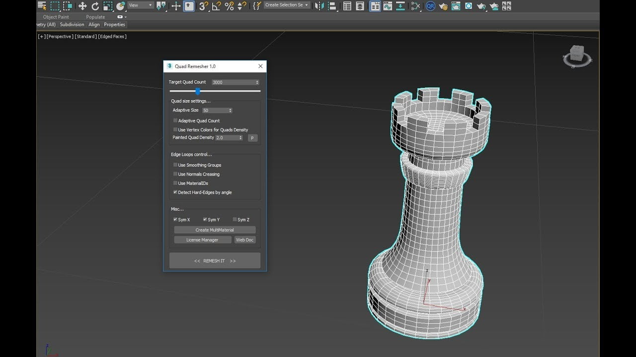 4D Max Cinema quadremesher tool released for max, maya and cinema 4d